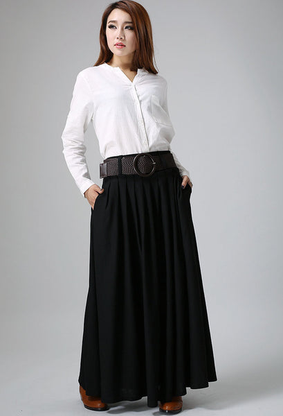 Black skirt woman maxi skirt custom made linen skirt pleated long skirt (904)