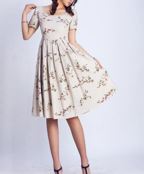 Floral Linen Tea Dress - Informal Flower Midi Dress with Scoop Neckline & Back Button Closure (139)