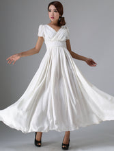 Load image into Gallery viewer, Timeless fit and flare white prom linen dress 0959#
