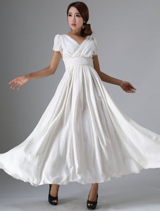 Timeless fit and flare white prom linen dress 0959#