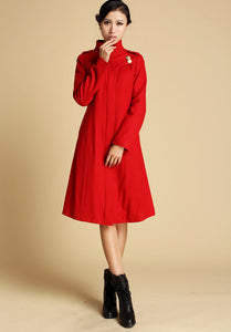 Red Wool Coat Winter Jacker 0343#