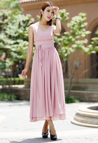 Pink chiffon dress - women long prom dress maxi bridesmaid dress - Custom made (1008)