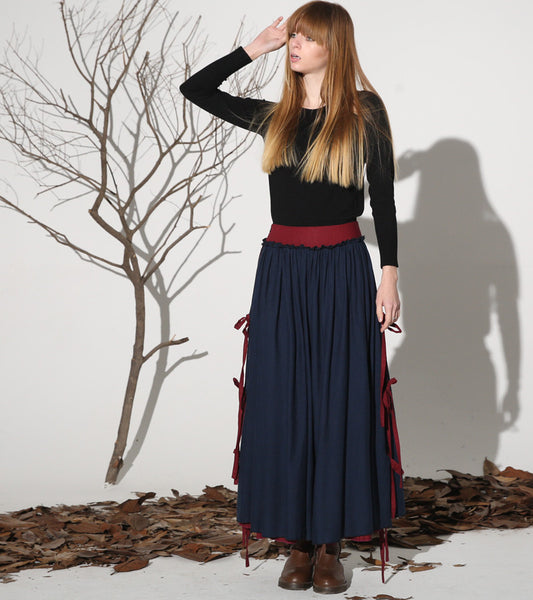 Dark blue linen skirt maxi skirt women skirt (1159)