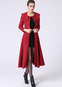 Red cashmere coat winter coat warm women coat 1065#