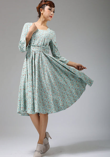 Blue linen dress floral print midi dress women dress 678#