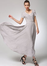 Load image into Gallery viewer, Light grey linen dress maxi dress women prom dress (1260)