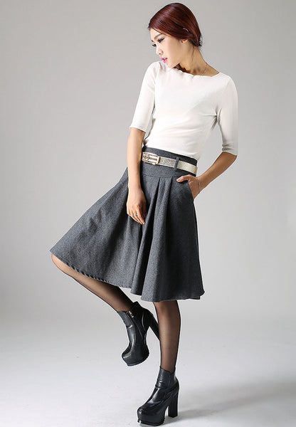 Gray wool skirt mini skirt women skirt (1099)