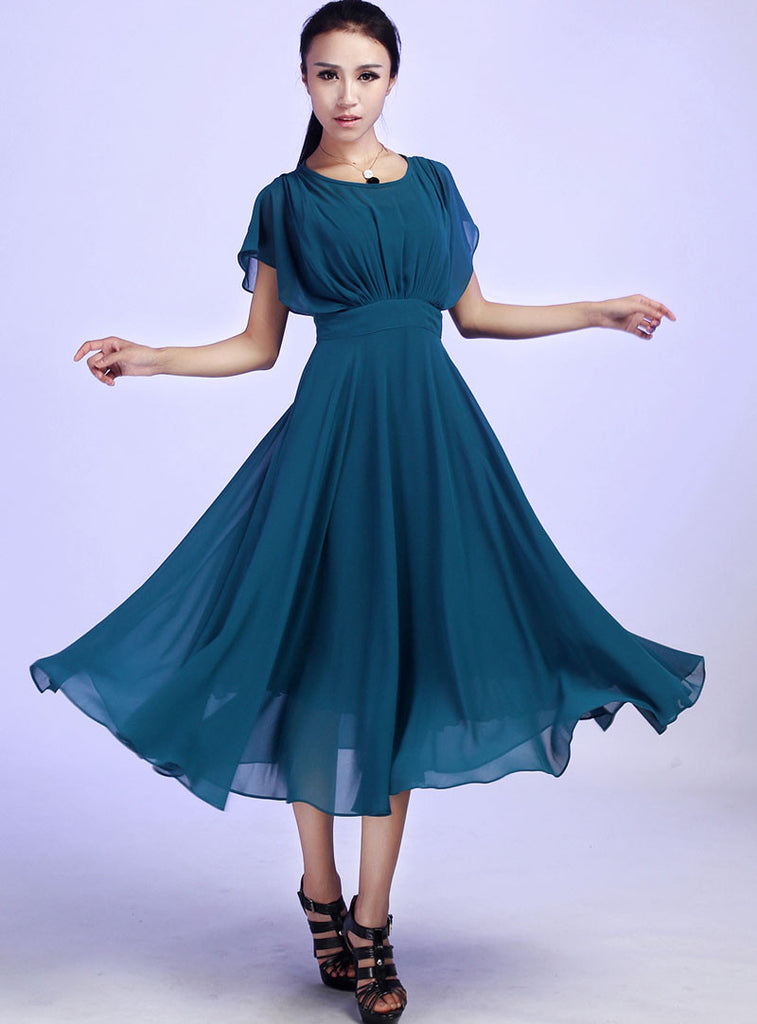 Blue chiffon dress woman Prom dress Custom made maxi dress (613)