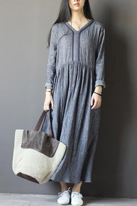 Set head v neck loose commuter dress with long sleeve  CYM330