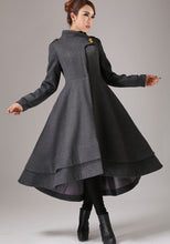 Load image into Gallery viewer, vintage inspired swing maxi dress coat with layered hem line 0761#