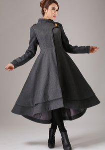 vintage inspired swing maxi dress coat with layered hem line 0761#