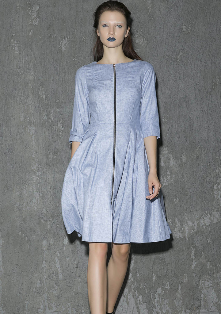 Linen midi dress woman pleated dress party dress (1312)