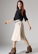 Load image into Gallery viewer, Cream skirt knee skirt linen skirt women skirt (1034)