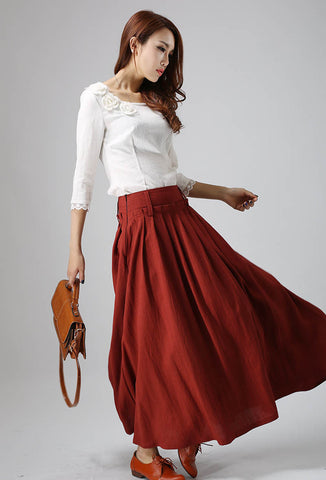 woman's long skirt Maxi pleated skirt navy red linen skirt (816)