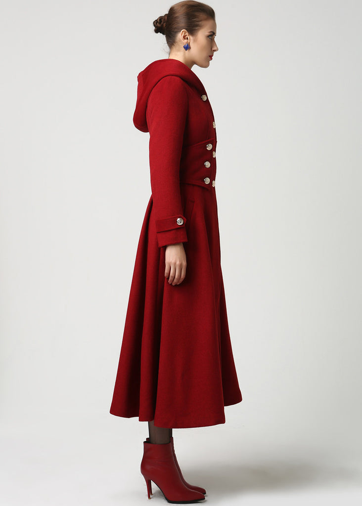 Womens Long Red Wool Coat with Hood – Also Available in Black and