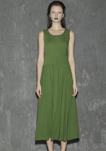 green sleeveless midi linen dress 1317