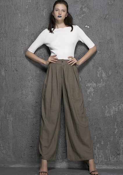 Linen trousers Maxi woman pants gray linen pants (1337)