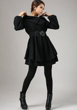 Load image into Gallery viewer, Black wool dress mini dress swing dress 0733#