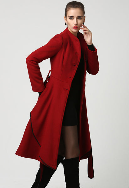 Womens midi Red Cashmere Coat Warm jacket (1111)