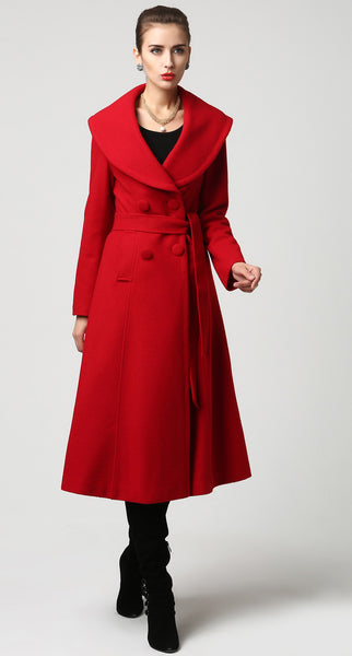 Red wool coat winter warm women coat (1116)