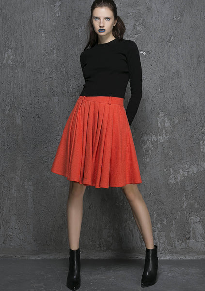 Orange wool midi skirt (1339)
