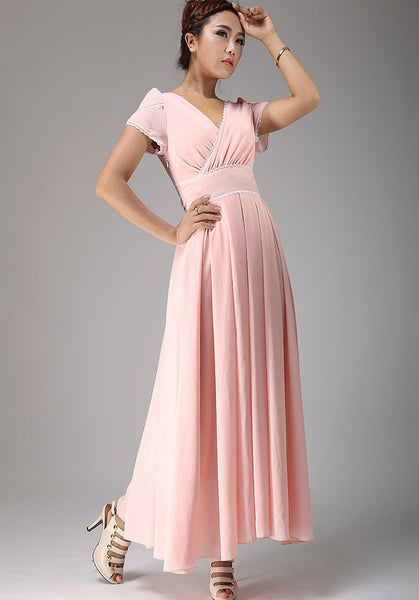 Pink wedding bridesmaid dress maxi chiffon dress (638)