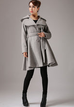 Load image into Gallery viewer, winter wool coat gray jacket midi dress coat 0755#