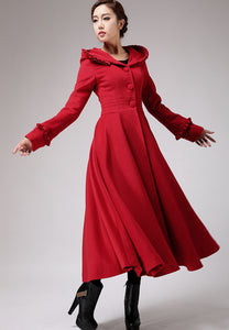 Red long  fit and flare hooded wool coat  0702#