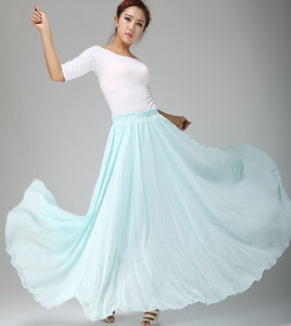 Swing long pleated chiffon skirt 0661#