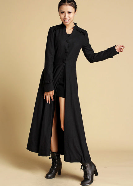 Long Black Winter Coat - Maxi Coat - Long Wool Coat - Coat Dress - Maxi Coat - Long Button Down Coat - Long Sleeve Winter Coat (355)