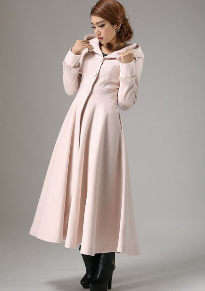 Pink Long Winter Coat - Maxi Fit-and-Flare Style Outerwear with Pleated Tab Details on Cuffs & Hood (727)