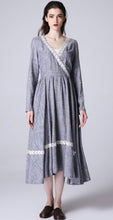 Load image into Gallery viewer, Gray dress elegant woman prom dress custom made maxi dress with lace detail 1195#