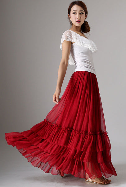 Red tiered maxi chiffon skirt for women 0985#