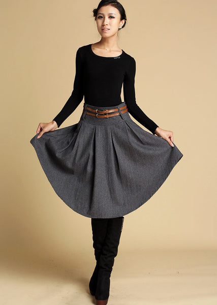 Dark grey wool skirt mini skirt for winter 0359#