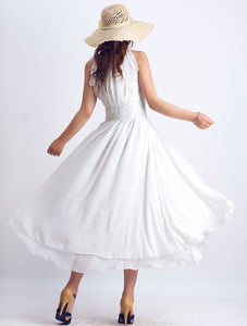 White party dress prom dress wedding dress maxi dress (0076)