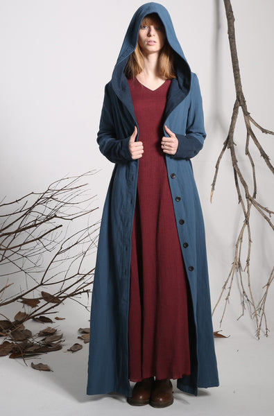 Long jacket blue linen jacket women jacket (1139)