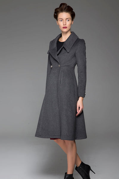 Classical Dark Gray Wool Coat Double-Breasted Winter Coat Oversize Collar Coat (1428)