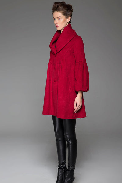Wine Red Coat Winter Warm Red Coat With Large Collar Around Neck Lantern Sleeves Coat (1426)