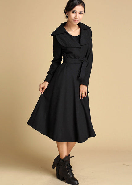 Black wool coat with double folded collar wool jacket 356#