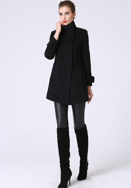 Black wool coat mini coat women coat 1070#