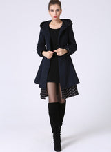Load image into Gallery viewer, Womens Mid-Length Winter Jacket - Navy Blue Midi Swing & Layered Wool Coat with Contrasting Hemline Detail (1059)