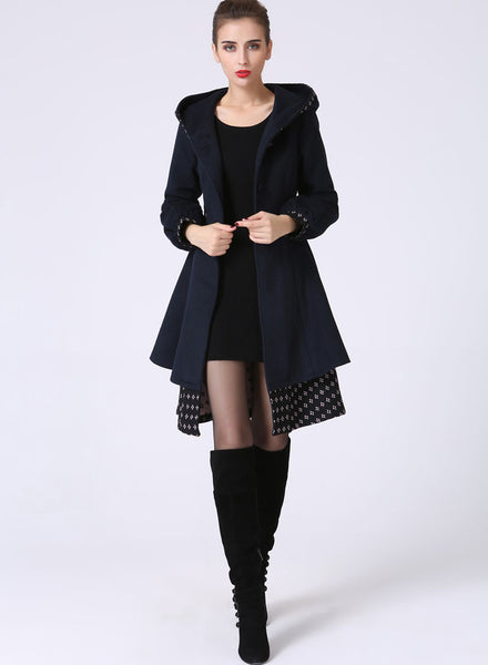 Womens Mid-Length Winter Jacket - Navy Blue Midi Swing & Layered Wool Coat with Contrasting Hemline Detail (1059)