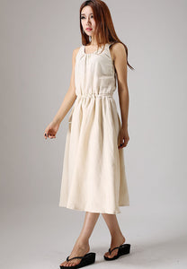 Women's sleeveless maxi linen dress 0879#