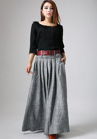 grey pleated linen skirt with high waist design 911