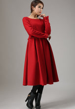 Load image into Gallery viewer, Red wool dress winter dress maxi dress (741)