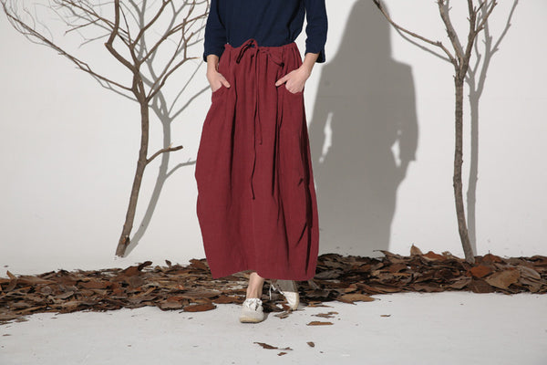 Wine red skirt casual linen skirt woman maxi skirt custom made (1162)