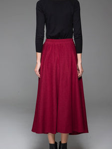 Red Wine Wool Skirt Winter Maxi Skirt Warm Skirt 1435#