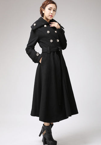 Black coat Cashmere coat Long coat Military Coat (709)