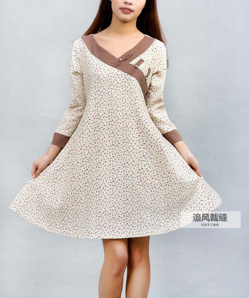 Pattern - - Cream linen shirt swing shirt dress (0029)