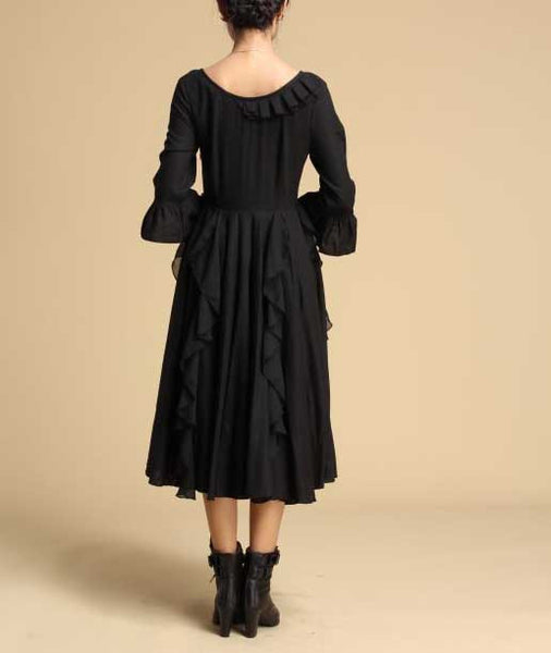 Snow -- Lace bridesmaid dress / Black dress (317)